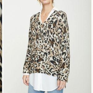 Brochu walker printed layered v neck leopard combo